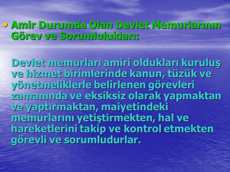 Amir Durumda Olan Devlet Memurlarının Görev ve Sorumlulukları: Amir Durumda Olan Devlet Memurlarının Görev ve Sorumlulukları: Devlet memurları amiri o