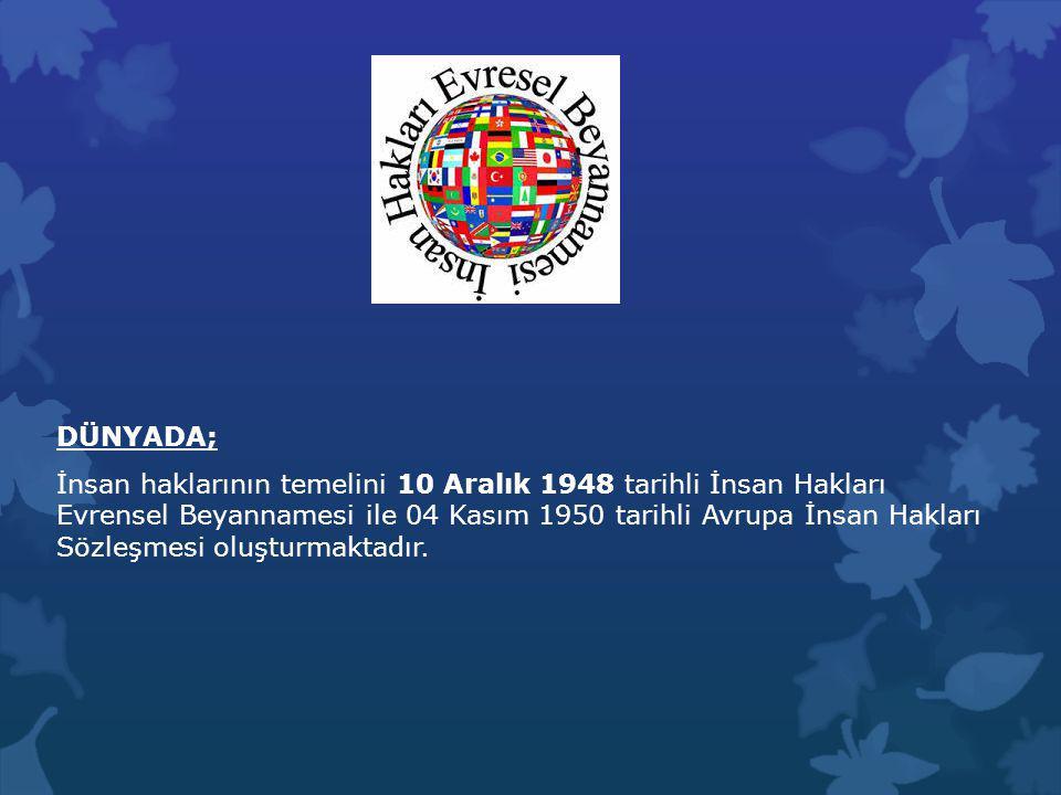 DÜNYADA; İnsan haklarının temelini 10 Aralık 1948 tarihli İnsan Hakları Evrensel Beyannamesi ile 04 Kasım 1950 tarihli Avrupa İnsan Hakları Sözleşmesi oluşturmaktadır.