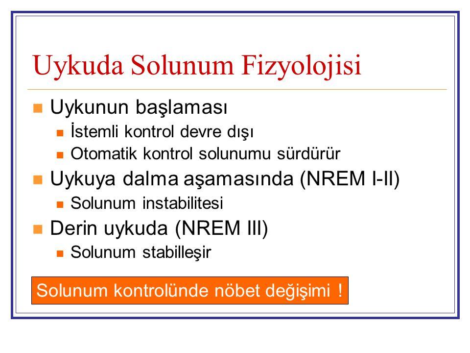Uykuda Solunum Fizyolojisi Uykunun başlaması İstemli kontrol devre dışı Otomatik kontrol solunumu sürdürür Uykuya dalma aşamasında (NREM I-II) Solunum
