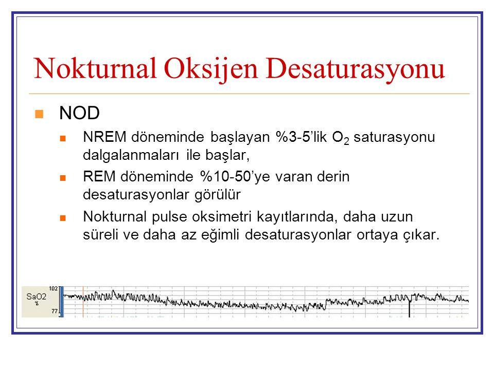 Nokturnal Oksijen Desaturasyonu NOD NREM döneminde başlayan %3-5'lik O 2 saturasyonu dalgalanmaları ile başlar, REM döneminde %10-50'ye varan derin de