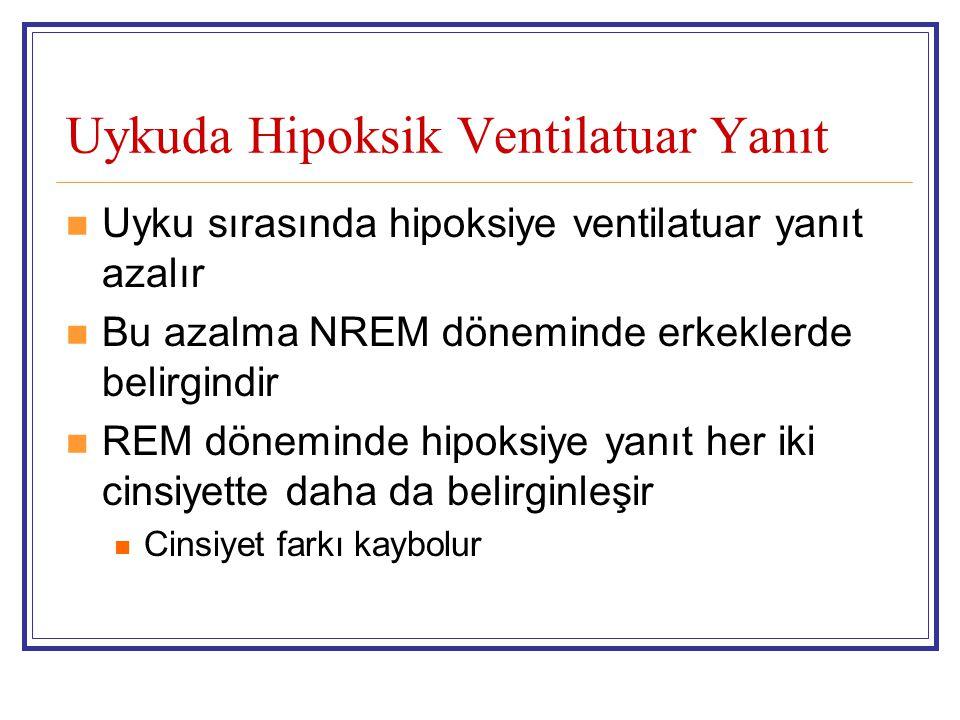 Uykuda Hipoksik Ventilatuar Yanıt Uyku sırasında hipoksiye ventilatuar yanıt azalır Bu azalma NREM döneminde erkeklerde belirgindir REM döneminde hipo