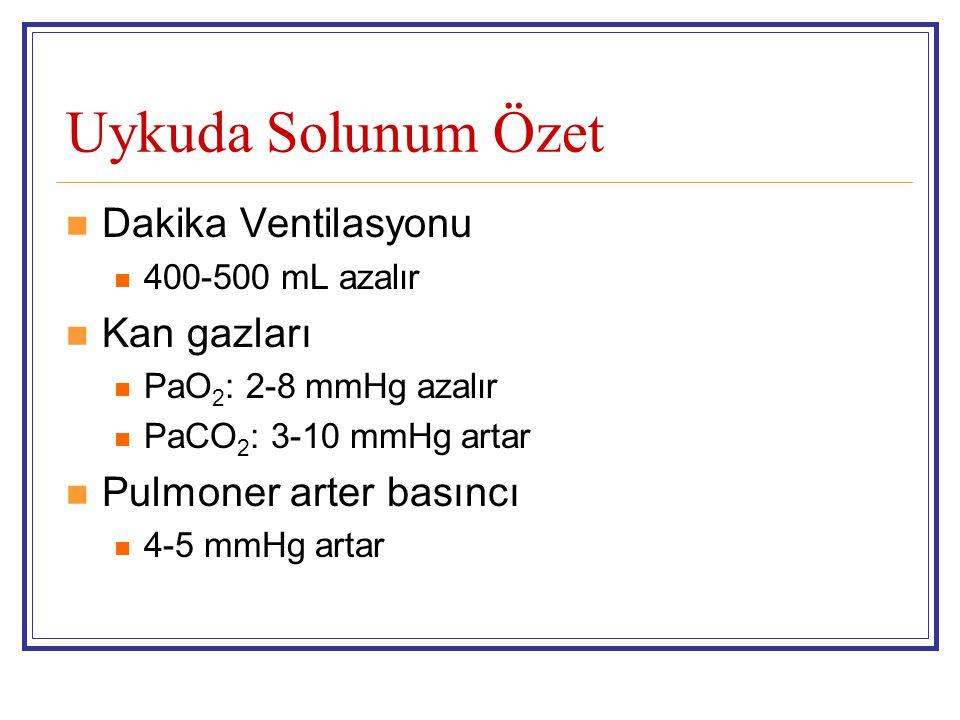 Uykuda Solunum Özet Dakika Ventilasyonu 400-500 mL azalır Kan gazları PaO 2 : 2-8 mmHg azalır PaCO 2 : 3-10 mmHg artar Pulmoner arter basıncı 4-5 mmHg