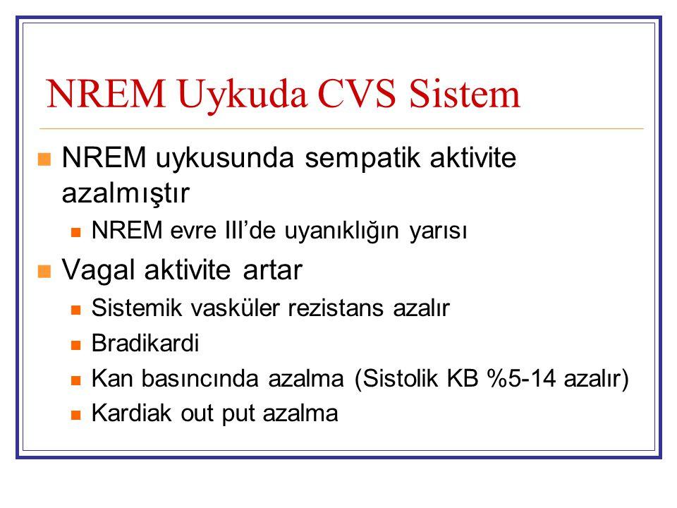 NREM Uykuda CVS Sistem NREM uykusunda sempatik aktivite azalmıştır NREM evre III'de uyanıklığın yarısı Vagal aktivite artar Sistemik vasküler rezistan