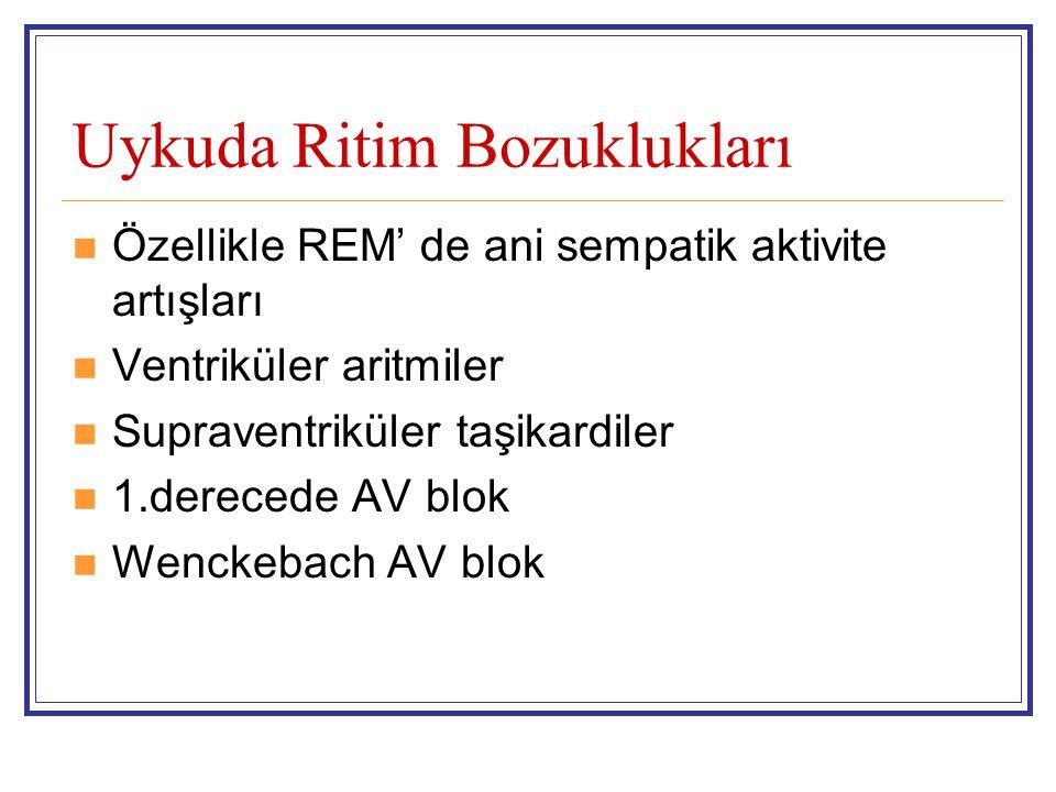 Uykuda Ritim Bozuklukları Özellikle REM' de ani sempatik aktivite artışları Ventriküler aritmiler Supraventriküler taşikardiler 1.derecede AV blok Wen