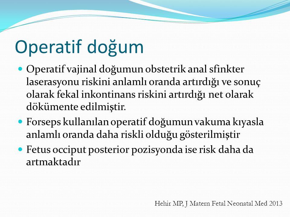 Operatif doğum Operatif vajinal doğumun obstetrik anal sfinkter laserasyonu riskini anlamlı oranda artırdığı ve sonuç olarak fekal inkontinans riskini