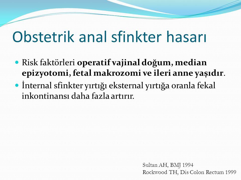 Obstetrik anal sfinkter hasarı Risk faktörleri operatif vajinal doğum, median epizyotomi, fetal makrozomi ve ileri anne yaşıdır. İnternal sfinkter yır