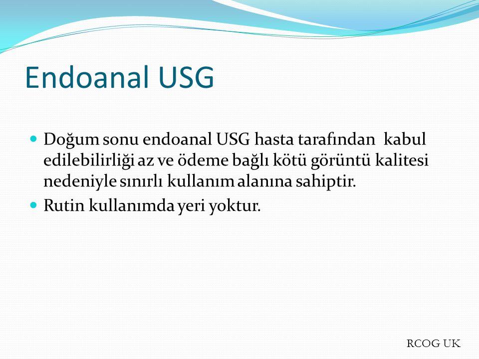 Doğum sonu endoanal USG hasta tarafından kabul edilebilirliği az ve ödeme bağlı kötü görüntü kalitesi nedeniyle sınırlı kullanım alanına sahiptir. Rut