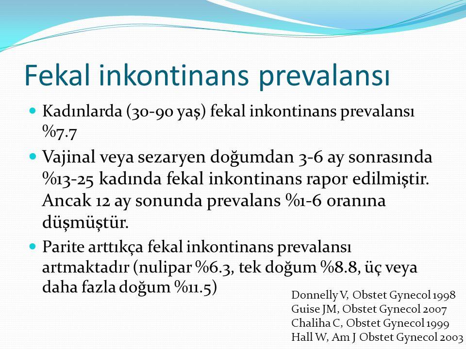 Fekal inkontinans prevalansı Kadınlarda (30-90 yaş) fekal inkontinans prevalansı %7.7 Vajinal veya sezaryen doğumdan 3-6 ay sonrasında %13-25 kadında