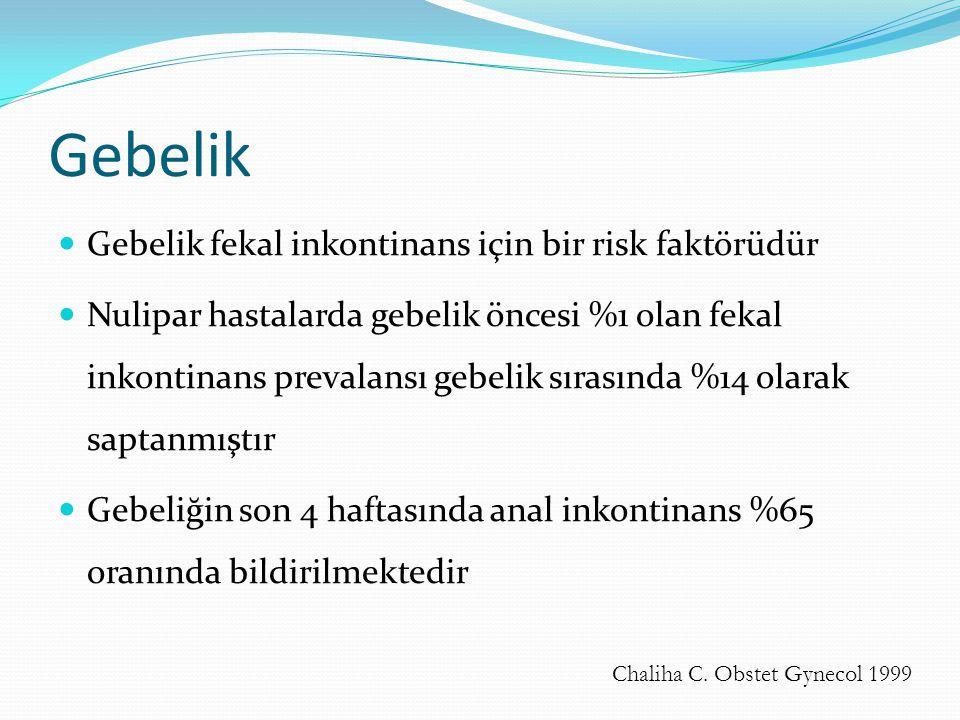 Gebelik Gebelik fekal inkontinans için bir risk faktörüdür Nulipar hastalarda gebelik öncesi %1 olan fekal inkontinans prevalansı gebelik sırasında %1