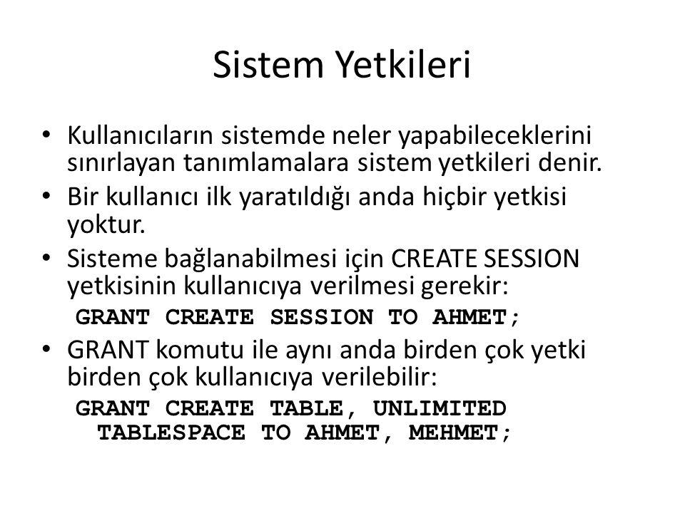 Sistem Yetkileri Kullanıcıların sistemde neler yapabileceklerini sınırlayan tanımlamalara sistem yetkileri denir. Bir kullanıcı ilk yaratıldığı anda h