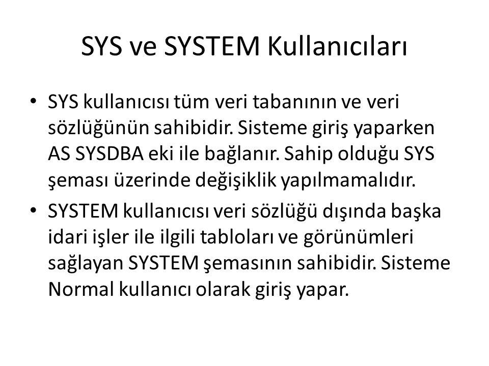 SYS ve SYSTEM Kullanıcıları SYS kullanıcısı tüm veri tabanının ve veri sözlüğünün sahibidir. Sisteme giriş yaparken AS SYSDBA eki ile bağlanır. Sahip