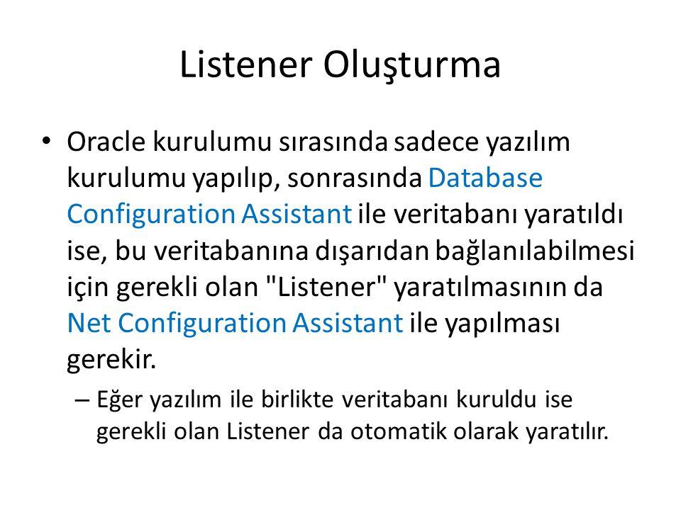 Listener Oluşturma Oracle kurulumu sırasında sadece yazılım kurulumu yapılıp, sonrasında Database Configuration Assistant ile veritabanı yaratıldı ise