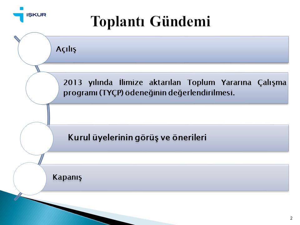 2 Açılış 2013 yılında İlimize aktarılan Toplum Yararına Çalışma programı (TYÇP) ödeneğinin değerlendirilmesi.