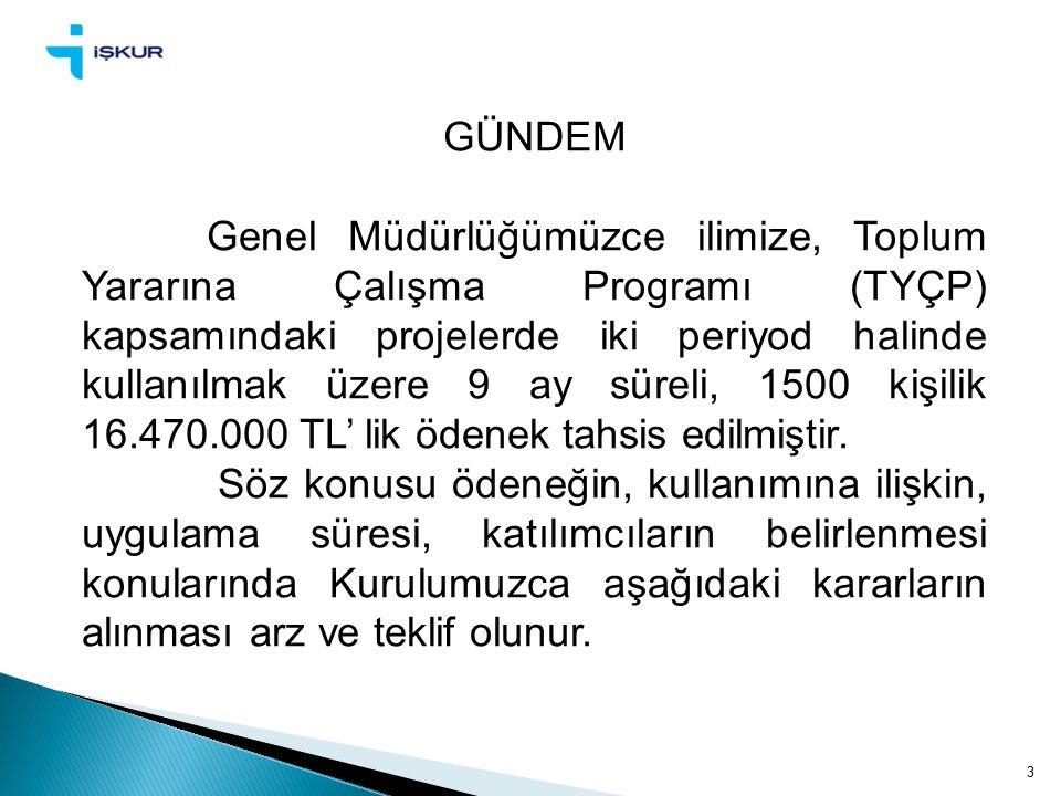 3 GÜNDEM Genel Müdürlüğümüzce ilimize, Toplum Yararına Çalışma Programı (TYÇP) kapsamındaki projelerde iki periyod halinde kullanılmak üzere 9 ay süreli, 1500 kişilik 16.470.000 TL' lik ödenek tahsis edilmiştir.