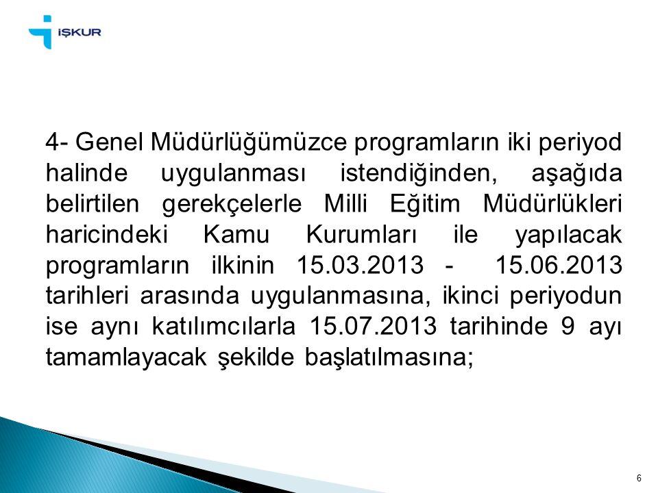 6 4- Genel Müdürlüğümüzce programların iki periyod halinde uygulanması istendiğinden, aşağıda belirtilen gerekçelerle Milli Eğitim Müdürlükleri haricindeki Kamu Kurumları ile yapılacak programların ilkinin 15.03.2013 - 15.06.2013 tarihleri arasında uygulanmasına, ikinci periyodun ise aynı katılımcılarla 15.07.2013 tarihinde 9 ayı tamamlayacak şekilde başlatılmasına;