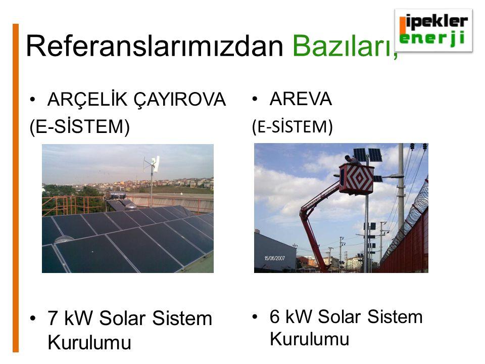 Referanslarımızdan Bazıları, ARÇELİK ÇAYIROVA (E-SİSTEM) 7 kW Solar Sistem Kurulumu AREVA (E-SİSTEM) 6 kW Solar Sistem Kurulumu