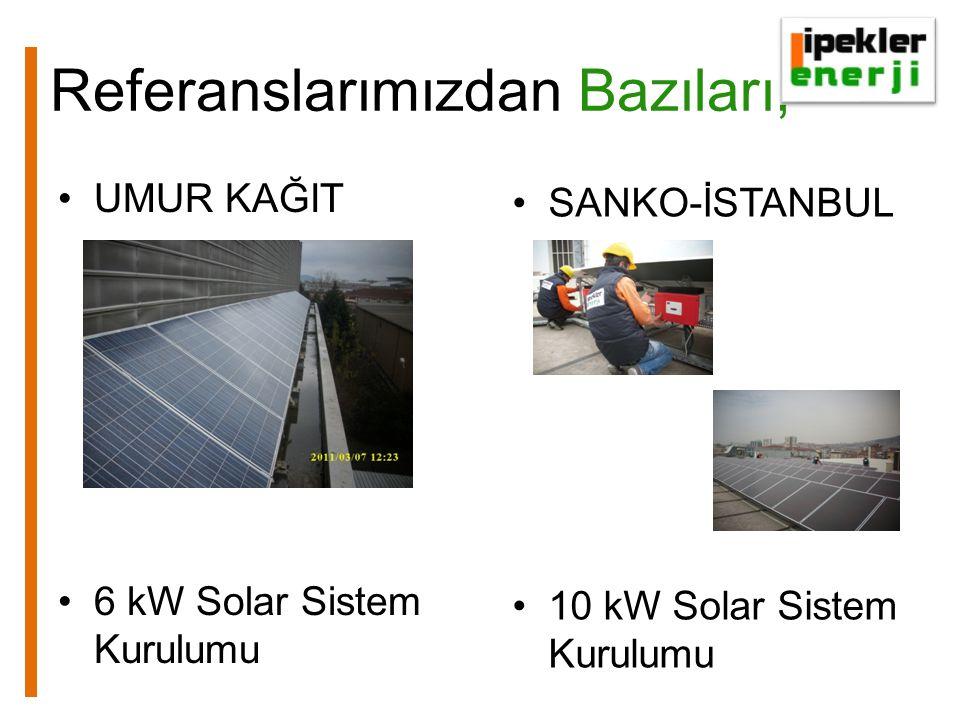 Referanslarımızdan Bazıları, UMUR KAĞIT 6 kW Solar Sistem Kurulumu SANKO-İSTANBUL 10 kW Solar Sistem Kurulumu