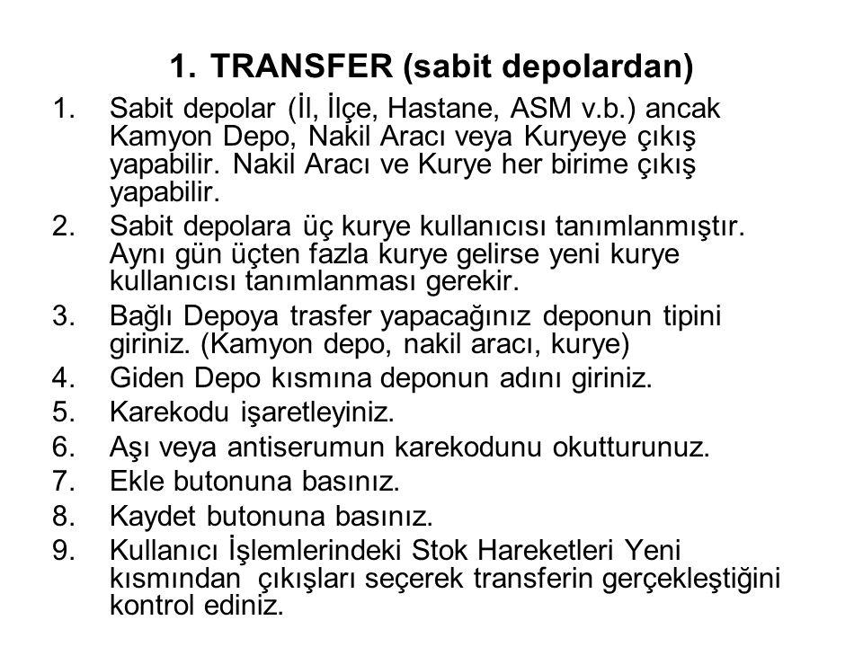 1. TRANSFER (sabit depolardan) 1.Sabit depolar (İl, İlçe, Hastane, ASM v.b.) ancak Kamyon Depo, Nakil Aracı veya Kuryeye çıkış yapabilir. Nakil Aracı