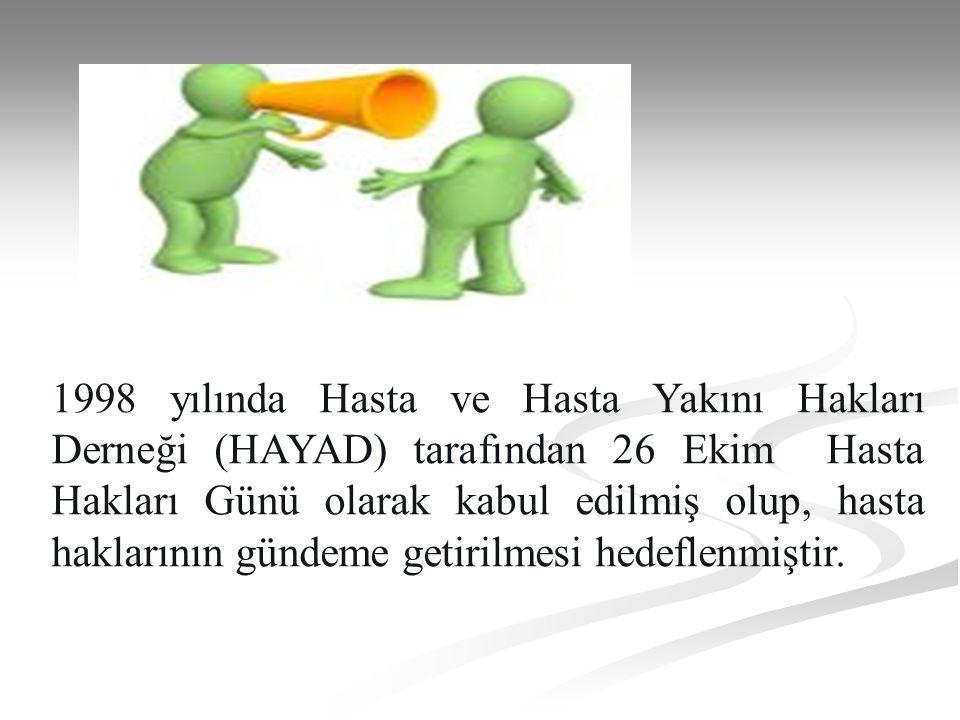 1998 yılında Hasta ve Hasta Yakını Hakları Derneği (HAYAD) tarafından 26 Ekim Hasta Hakları Günü olarak kabul edilmiş olup, hasta haklarının gündeme g