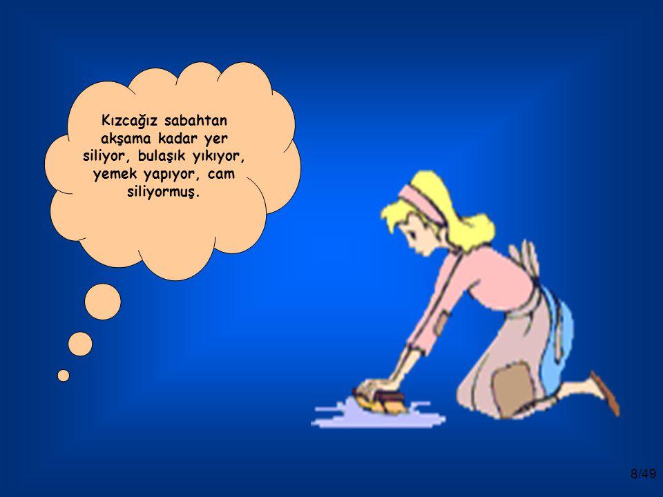 7/49 Üvey anne ve kızları, bütün gün zavallı Sindrella'ya evin işlerini yaptırıyorlarmış.