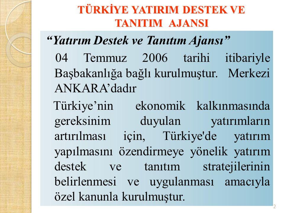 """TÜRKİYE YATIRIM DESTEK VE TANITIM AJANSI """"Yatırım Destek ve Tanıtım Ajansı"""" 04 Temmuz 2006 tarihi itibariyle Başbakanlığa bağlı kurulmuştur. Merkezi A"""
