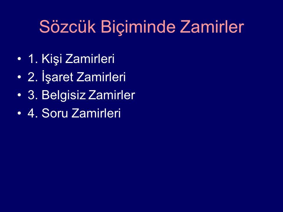 Sözcük Biçiminde Zamirler 1. Kişi Zamirleri 2. İşaret Zamirleri 3. Belgisiz Zamirler 4. Soru Zamirleri