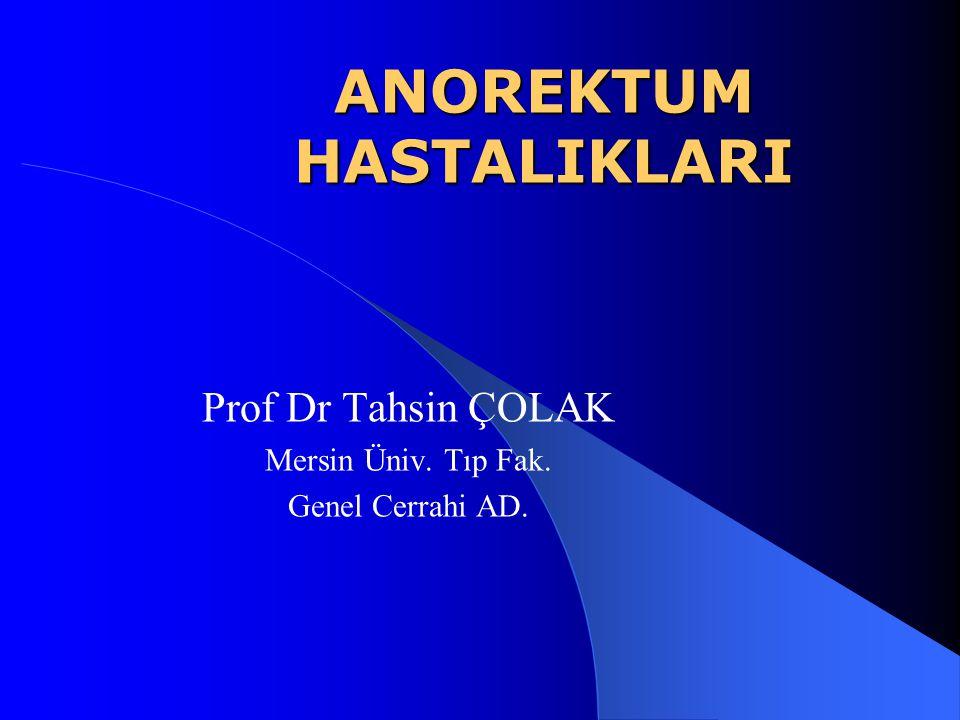 ANOREKTUM HASTALIKLARI Prof Dr Tahsin ÇOLAK Mersin Üniv. Tıp Fak. Genel Cerrahi AD.