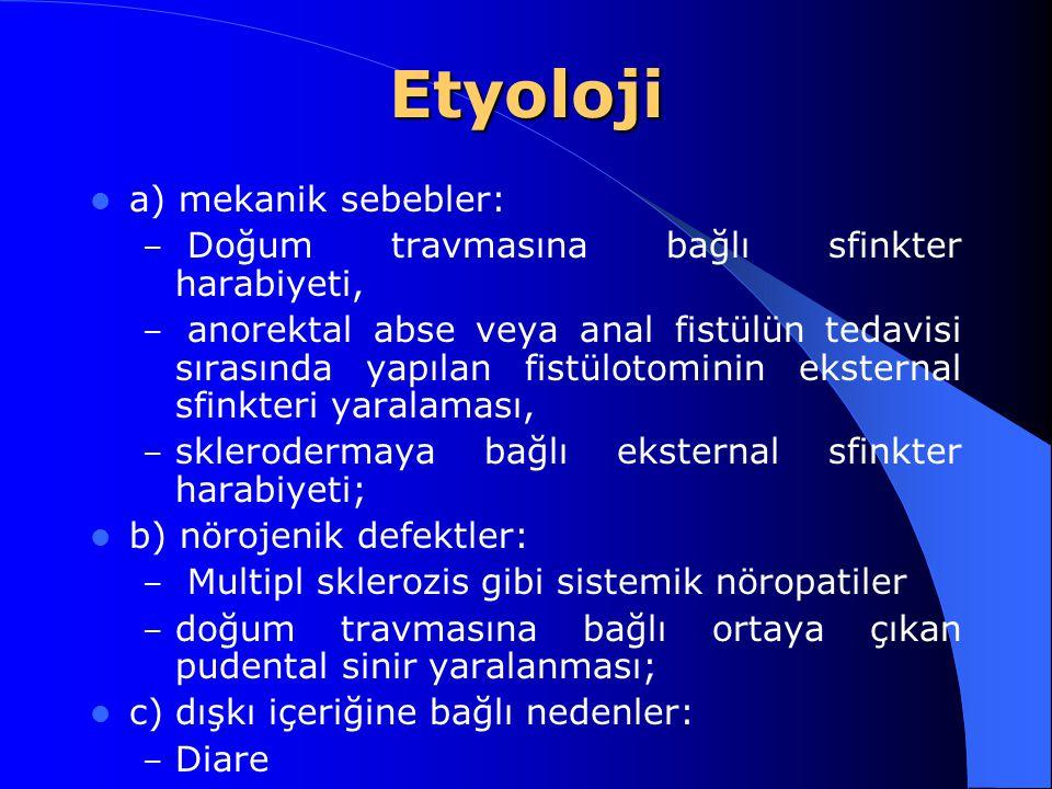 Etyoloji a) mekanik sebebler: – Doğum travmasına bağlı sfinkter harabiyeti, – anorektal abse veya anal fistülün tedavisi sırasında yapılan fistülotomi