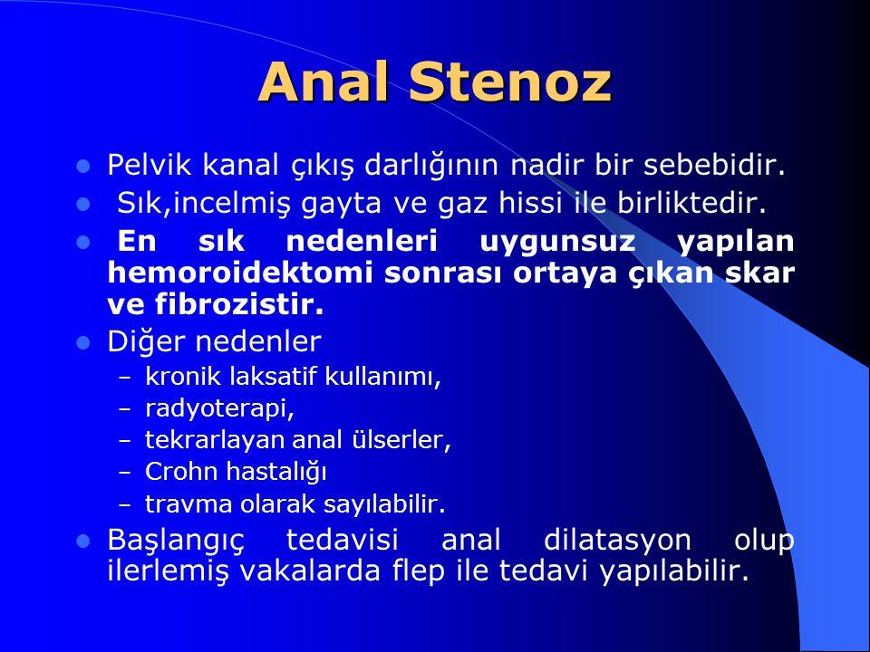 Anal Stenoz Pelvik kanal çıkış darlığının nadir bir sebebidir. Sık,incelmiş gayta ve gaz hissi ile birliktedir. En sık nedenleri uygunsuz yapılan hemo