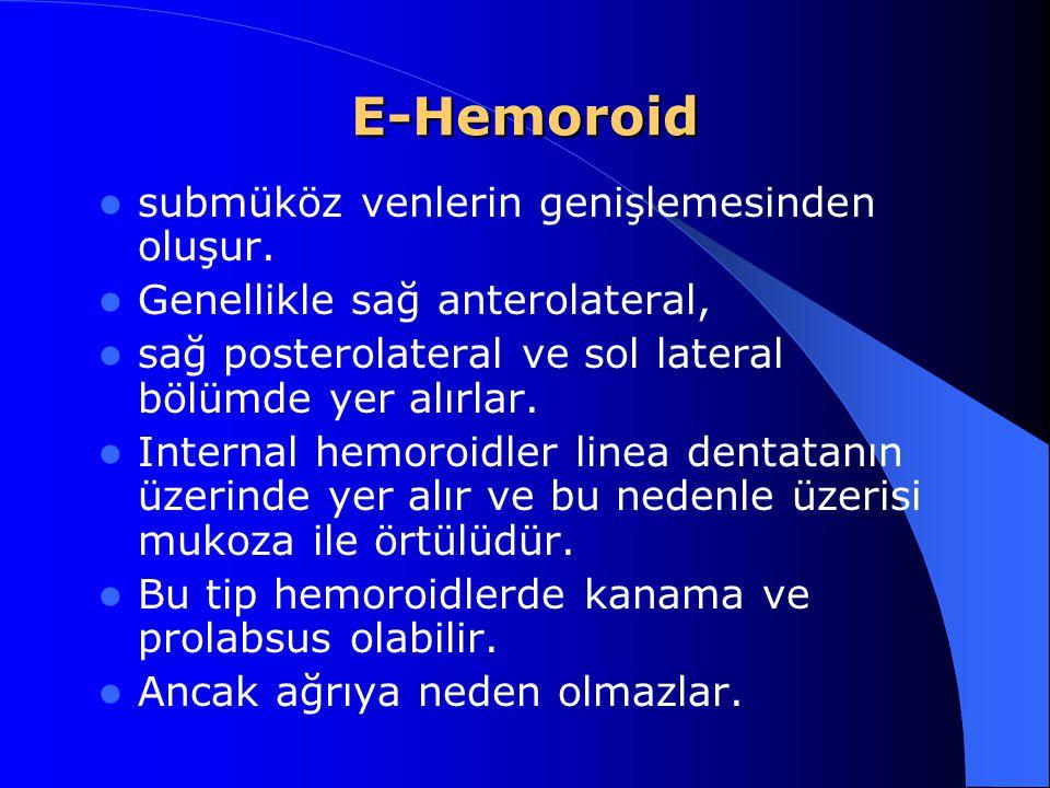 E-Hemoroid submüköz venlerin genişlemesinden oluşur. Genellikle sağ anterolateral, sağ posterolateral ve sol lateral bölümde yer alırlar. Internal hem