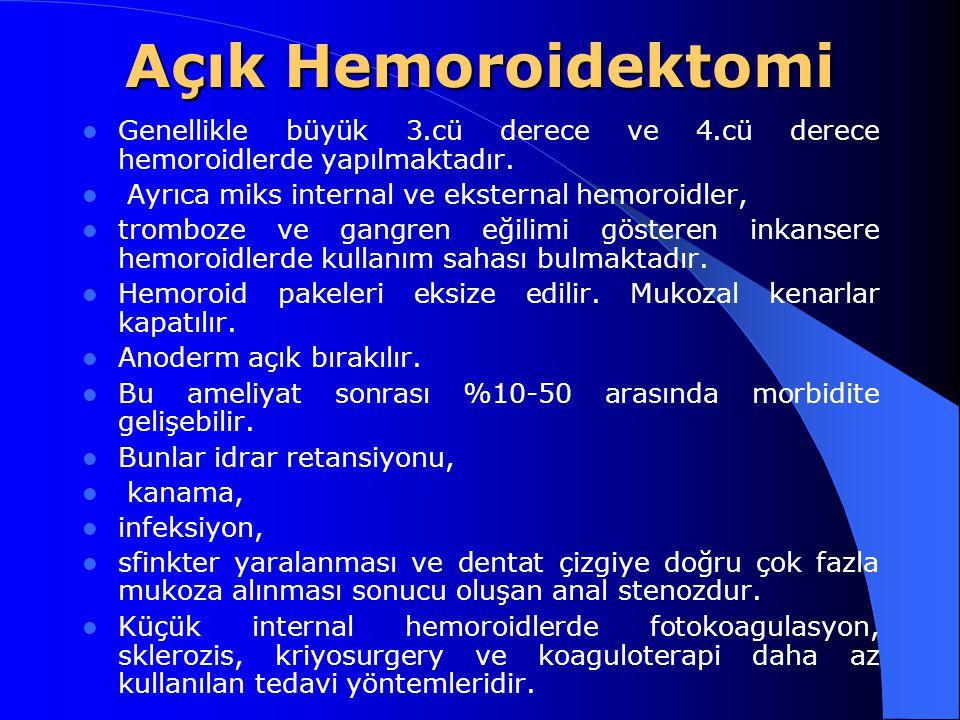 Açık Hemoroidektomi Genellikle büyük 3.cü derece ve 4.cü derece hemoroidlerde yapılmaktadır. Ayrıca miks internal ve eksternal hemoroidler, tromboze v