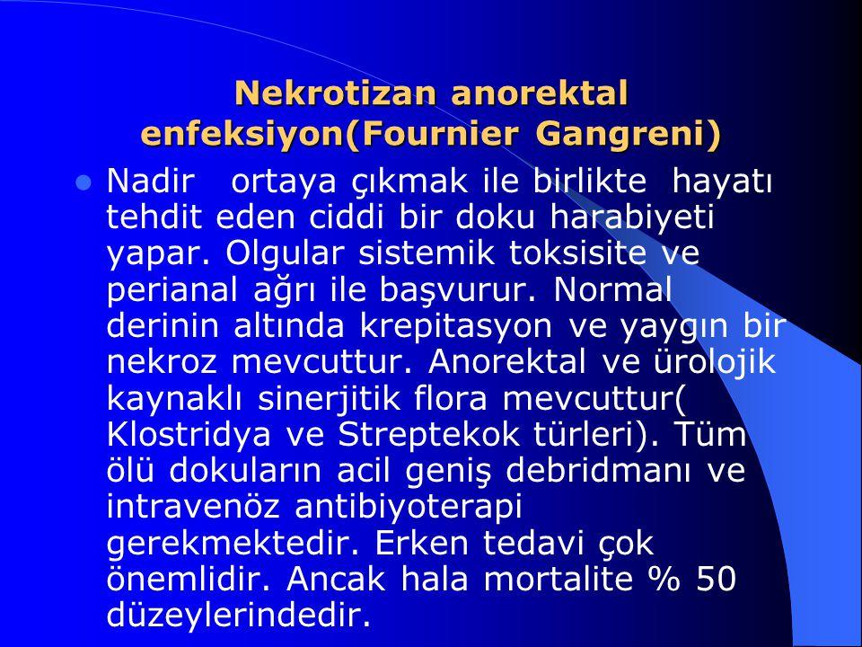 Nekrotizan anorektal enfeksiyon(Fournier Gangreni) Nadir ortaya çıkmak ile birlikte hayatı tehdit eden ciddi bir doku harabiyeti yapar. Olgular sistem