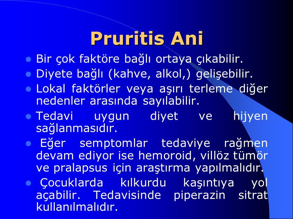 Pruritis Ani Bir çok faktöre bağlı ortaya çıkabilir. Diyete bağlı (kahve, alkol,) gelişebilir. Lokal faktörler veya aşırı terleme diğer nedenler arası