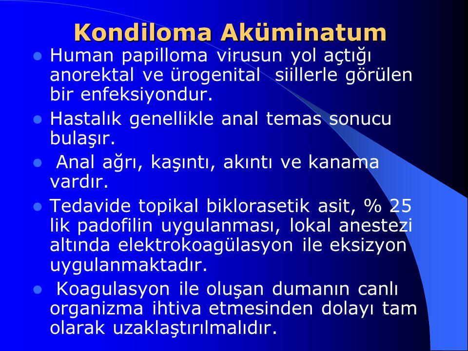 Kondiloma Aküminatum Human papilloma virusun yol açtığı anorektal ve ürogenital siillerle görülen bir enfeksiyondur. Hastalık genellikle anal temas so