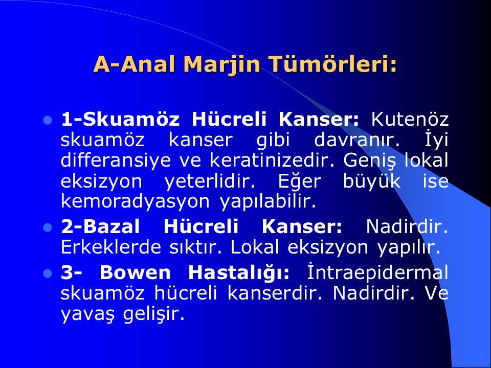 A-Anal Marjin Tümörleri: 1-Skuamöz Hücreli Kanser: Kutenöz skuamöz kanser gibi davranır. İyi differansiye ve keratinizedir. Geniş lokal eksizyon yeter