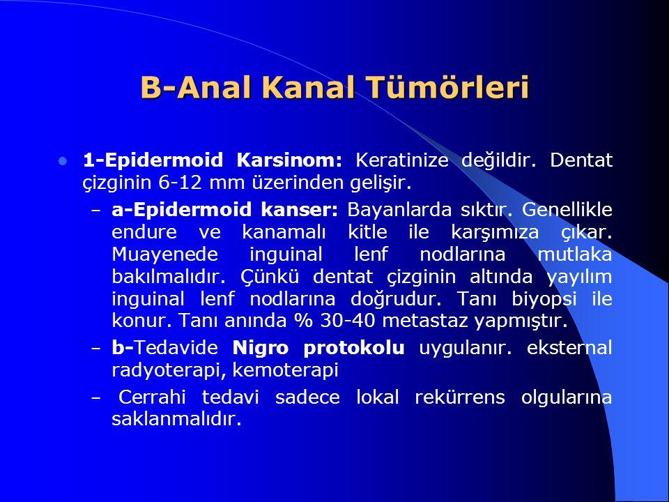 B-Anal Kanal Tümörleri 1-Epidermoid Karsinom: Keratinize değildir. Dentat çizginin 6-12 mm üzerinden gelişir. – a-Epidermoid kanser: Bayanlarda sıktır