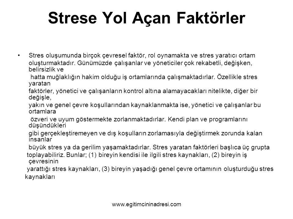 Strese Yol Açan Faktörler Stres oluşumunda birçok çevresel faktör, rol oynamakta ve stres yaratıcı ortam oluşturmaktadır. Günümüzde çalışanlar ve yöne