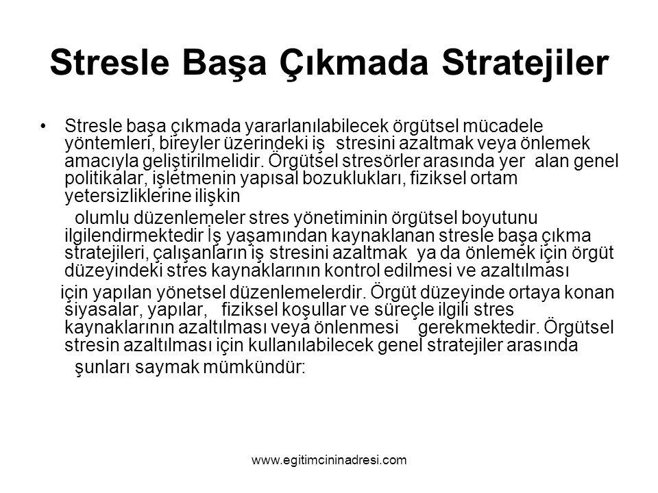 Stresle Başa Çıkmada Stratejiler Stresle başa çıkmada yararlanılabilecek örgütsel mücadele yöntemleri, bireyler üzerindeki iş stresini azaltmak veya ö