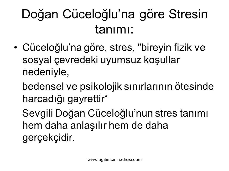 Çünkü : Selye stresi bireyin çeşitli çevresel stresörlere karşı gösterdiği genel bir tepki olarak tanımlamıştır.