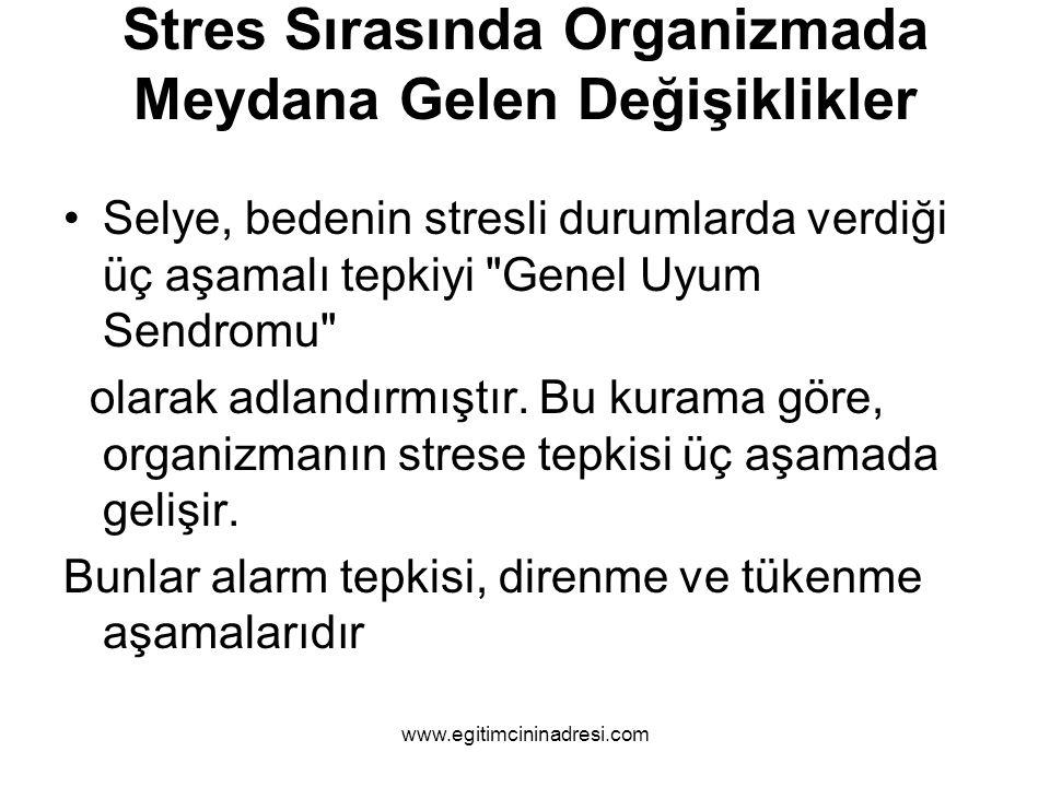 Stres Sırasında Organizmada Meydana Gelen Değişiklikler Selye, bedenin stresli durumlarda verdiği üç aşamalı tepkiyi