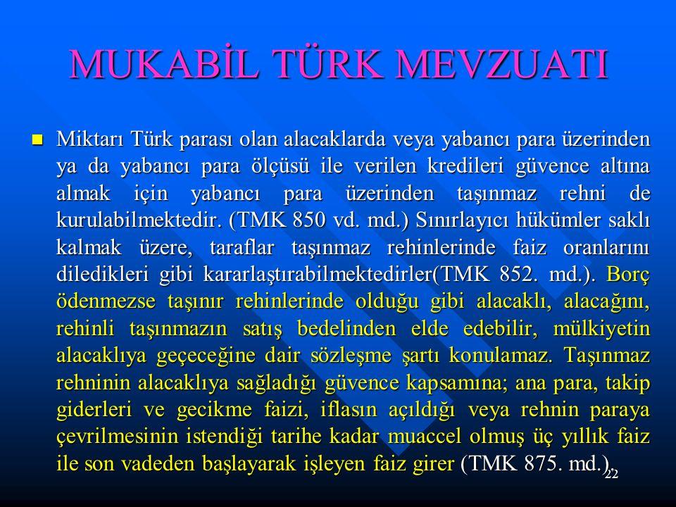22 MUKABİL TÜRK MEVZUATI Miktarı Türk parası olan alacaklarda veya yabancı para üzerinden ya da yabancı para ölçüsü ile verilen kredileri güvence altı