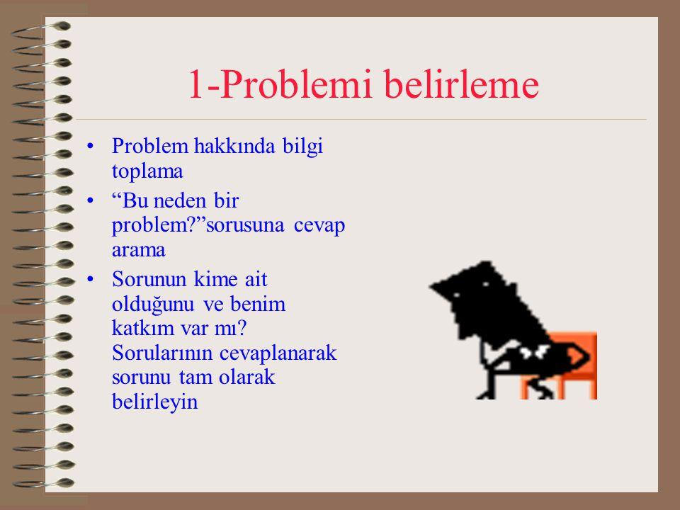 """1-Problemi belirleme Problem hakkında bilgi toplama """"Bu neden bir problem?""""sorusuna cevap arama Sorunun kime ait olduğunu ve benim katkım var mı? Soru"""