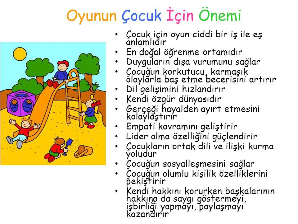 Oyunun Çocuk İçin Önemi Çocuk için oyun ciddi bir iş ile eş anlamlıdır En doğal öğrenme ortamıdır Duyguların dışa vurumunu sağlar Çocuğun korkutucu, k