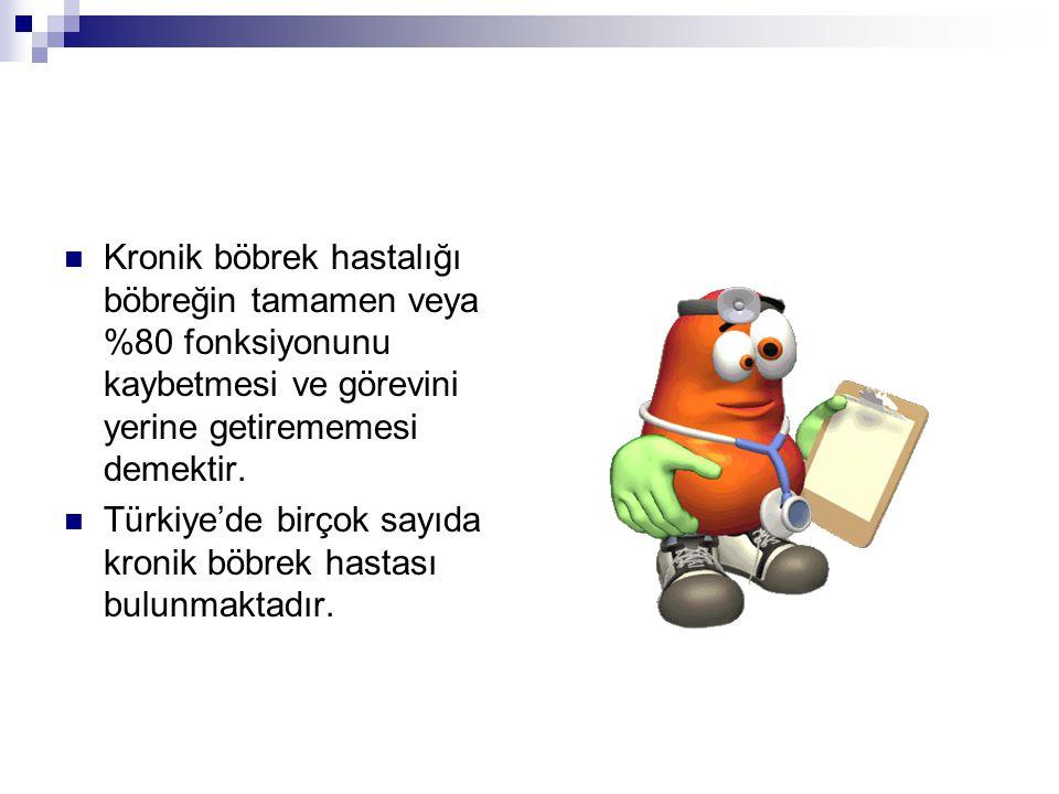 Kronik böbrek hastalığı böbreğin tamamen veya %80 fonksiyonunu kaybetmesi ve görevini yerine getirememesi demektir. Türkiye'de birçok sayıda kronik bö