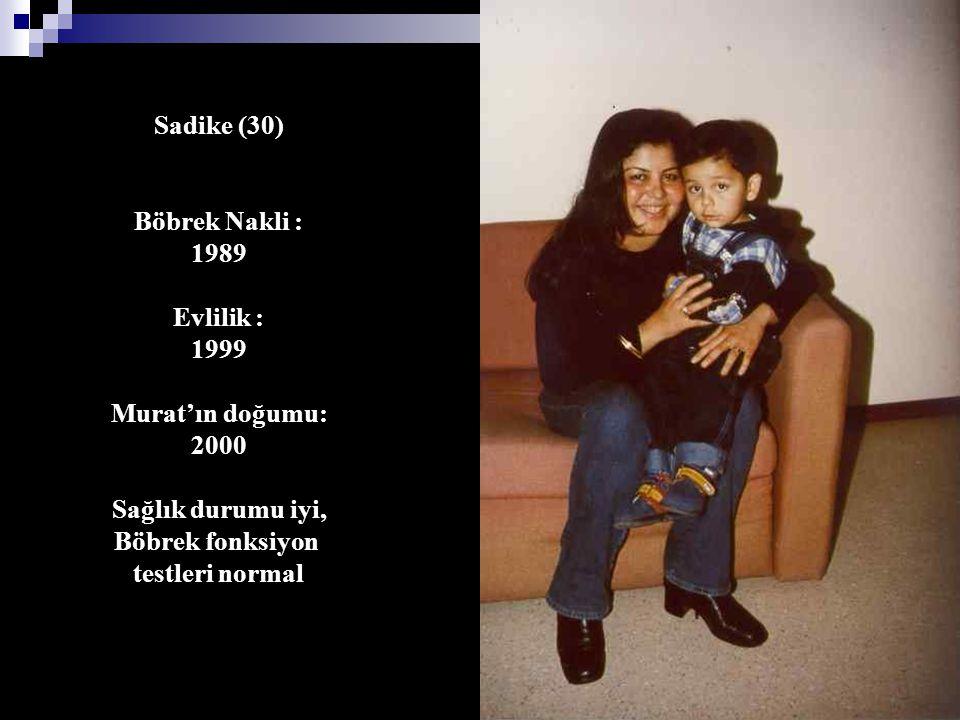 Sadike (30) Böbrek Nakli : 1989 Evlilik : 1999 Murat'ın doğumu: 2000 Sağlık durumu iyi, Böbrek fonksiyon testleri normal