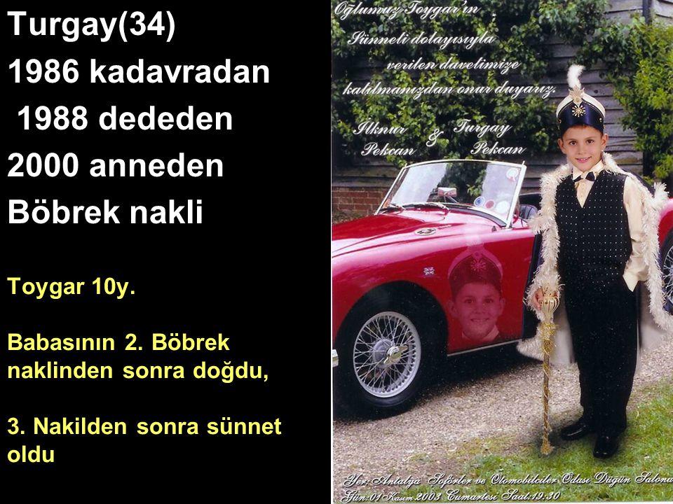 Toygar 10y. Babasının 2. Böbrek naklinden sonra doğdu, 3. Nakilden sonra sünnet oldu Turgay(34) 1986 kadavradan 1988 dededen 2000 anneden Böbrek nakli