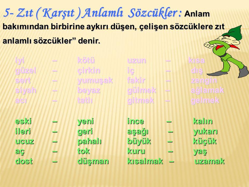 ( 2002 - DPY) Hangi seçenekteki sözcükler arasındaki anlam ilişkisi diğerlerinden farklıdır.