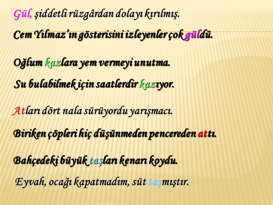6- Sesteş ( Eş Sesli ) Sözcükler : Yazılışları ve okunuşları aynı, anlamları farklı olan sözcüklere sesteş sözcükler denir. Bu yaz tatilimizi Antalya'