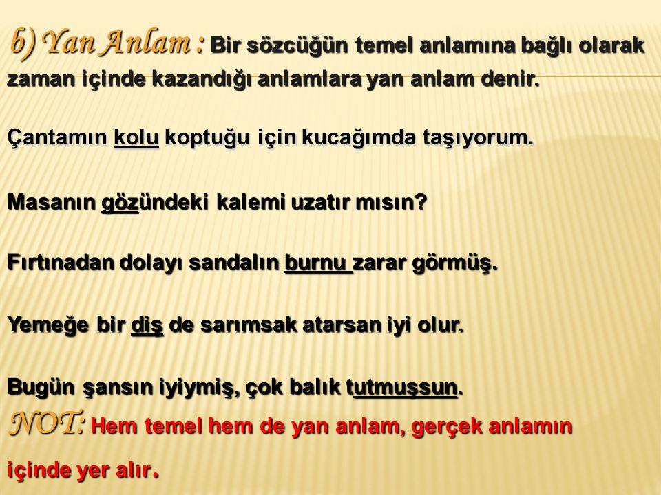 a) Temel Anlam : Bir sözcüğün dilde kazandığı ya da o sözcüğün söylendiğinde zihinde canlandırdığı ilk ve en yaygın anlamıdır.