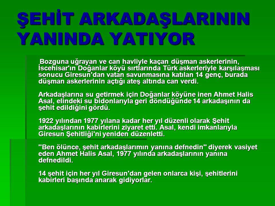 ŞEHİT ARKADAŞLARININ YANINDA YATIYOR Bozguna uğrayan ve can havliyle kaçan düşman askerlerinin, İscehisar'ın Doğanlar köyü sırtlarında Türk askerleriy